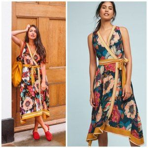 Anthro Maeve floral Botanica wrap dress size 0